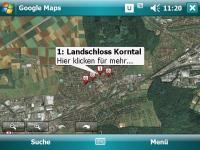 GoogleMaps Satellitenansicht mit Restaurants Suche