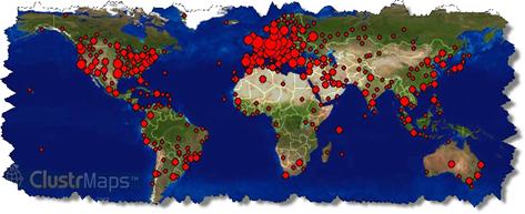 ClustrMaps - Weltkarte